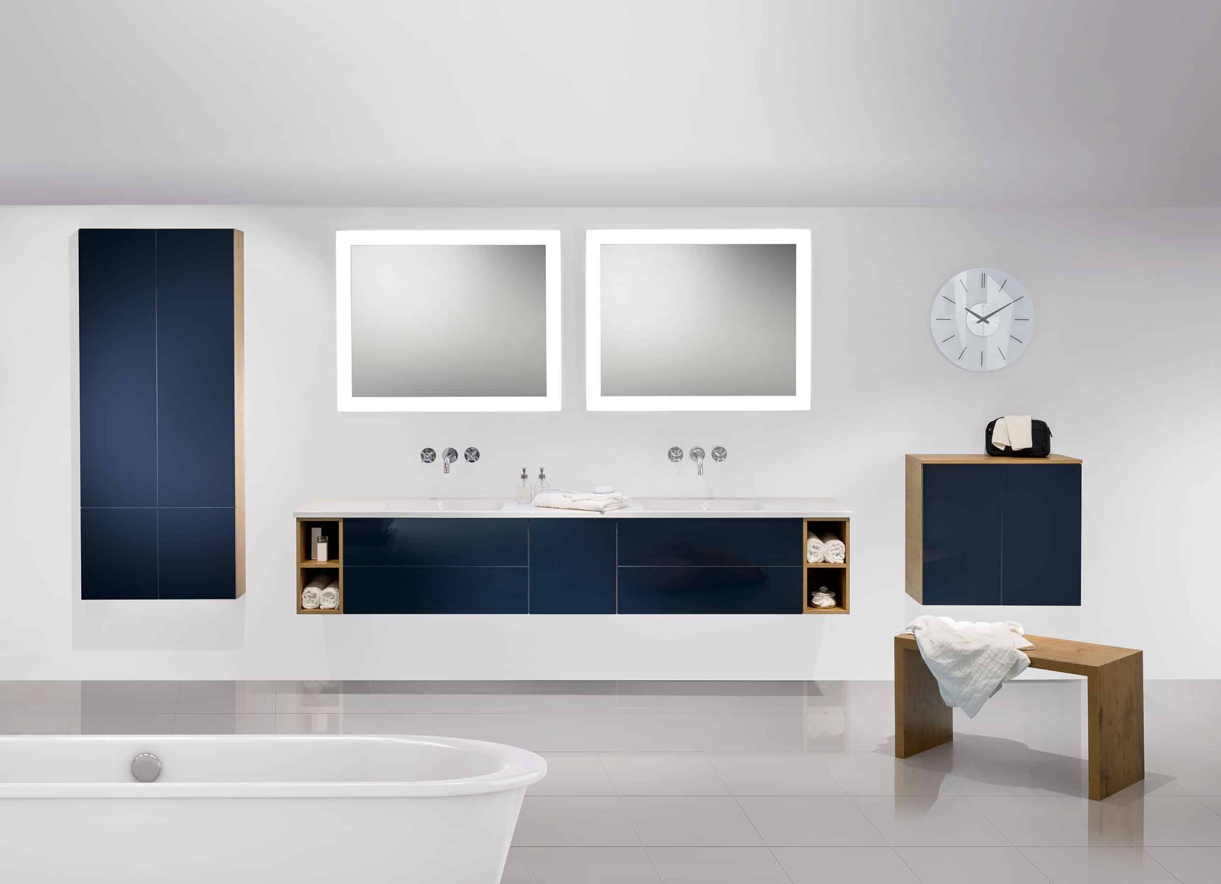 Badea bathroom vanity includes modern design features like these innovative basins and storage.