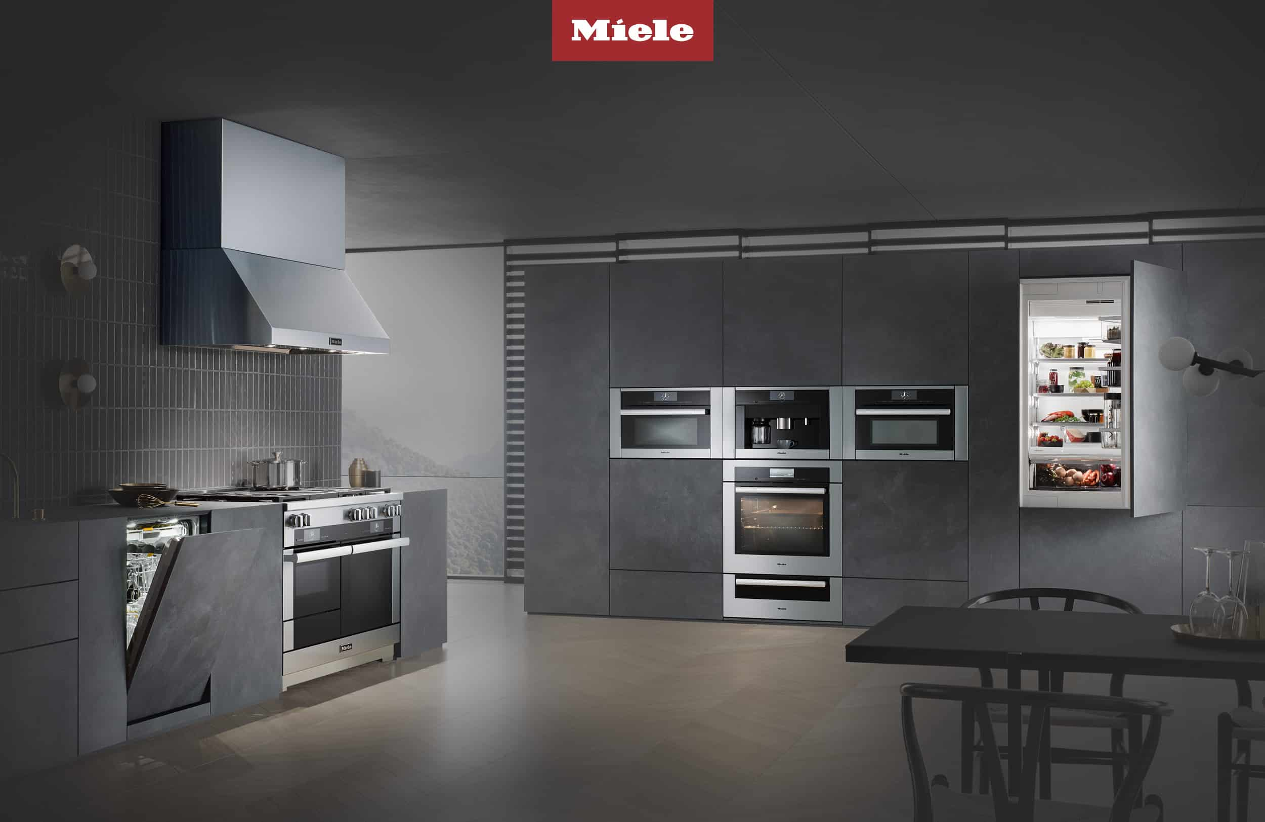 Enjoy modern German appliances like this kitchen combo from Miele.