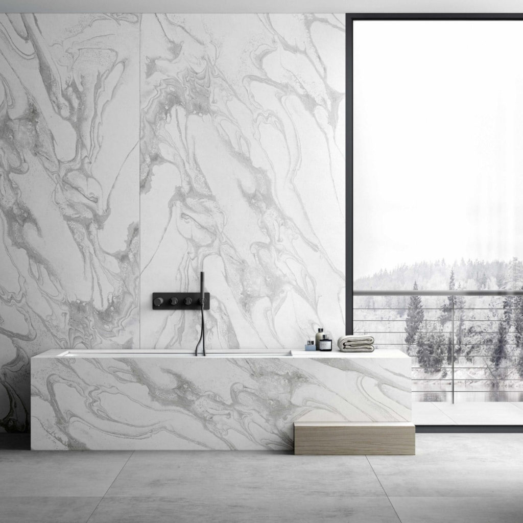 Ordinary becomes extraordinary with modern surfaces for counter, floor, and wall featuring Dekton.