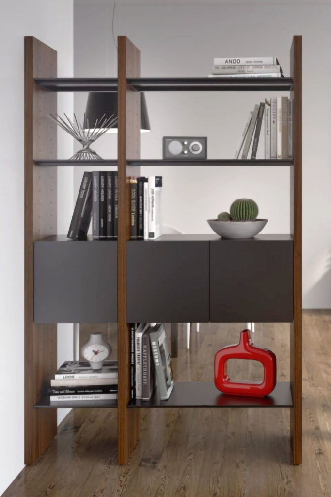 Wall Systems like this unit from BDI are versatile options for modern shelving.